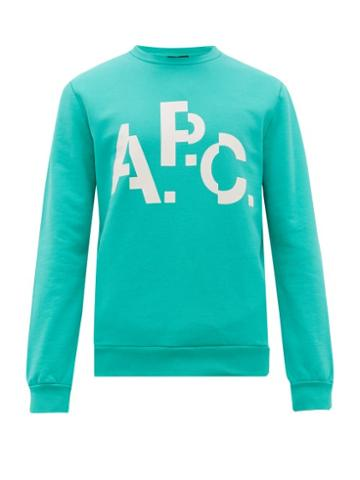 Matchesfashion.com A.p.c. - Decale Spliced Logo Print Cotton Sweatshirt - Mens - Green