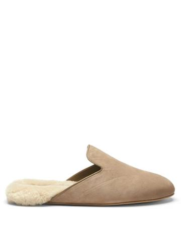 Matchesfashion.com Inabo - Fritz Suede And Shearling Slippers - Mens - Beige