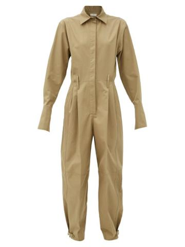 Matchesfashion.com Givenchy - Fluted-cuff Knife-pleated Cotton-poplin Jumpsuit - Womens - Beige