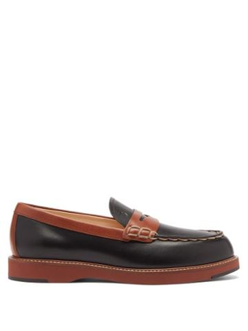 Matchesfashion.com Tod's - Bi-colour Topstitched Leather Loafers - Womens - Black Tan
