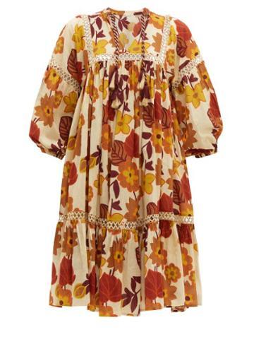 Matchesfashion.com Dodo Bar Or - Nell Floral Print Cotton Poplin Smock Dress - Womens - Cream Print