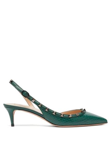 Matchesfashion.com Valentino - Rockstud Elaphe Sling Back Heels - Womens - Dark Green