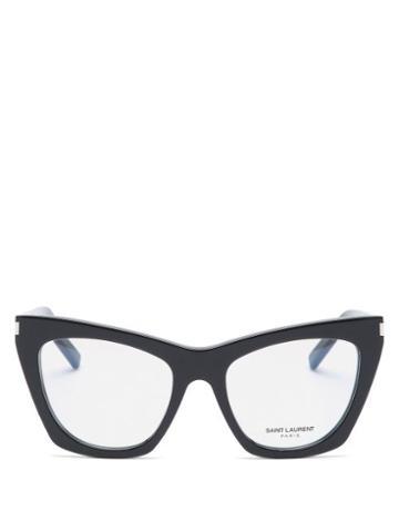 Matchesfashion.com Saint Laurent - Kate Cat-eye Acetate Glasses - Womens - Black