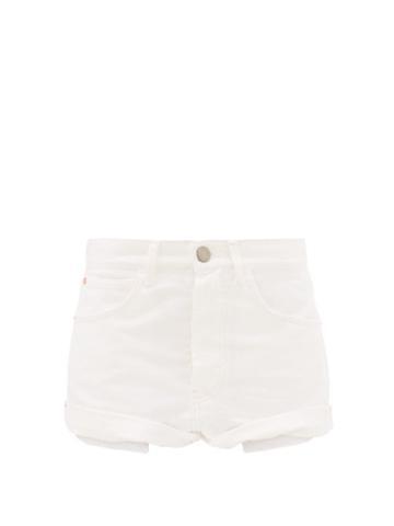 Matchesfashion.com Raey - Rivet Cut-off Denim Shorts - Womens - White