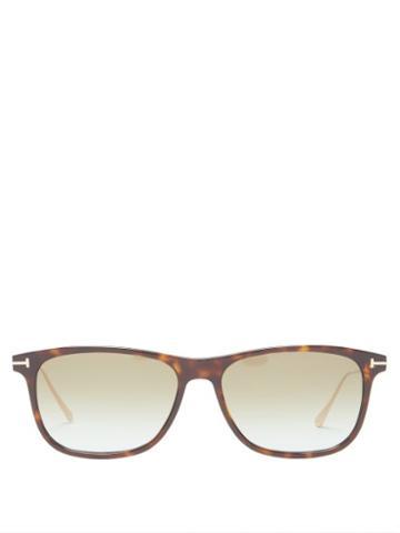 Matchesfashion.com Tom Ford Eyewear - Square Tortoiseshell-acetate Sunglasses - Mens - Brown Gold