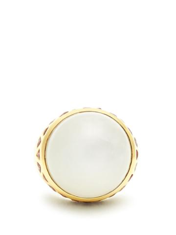 Theodora Warre Moonstone, Garnet And Gold-plated Ring