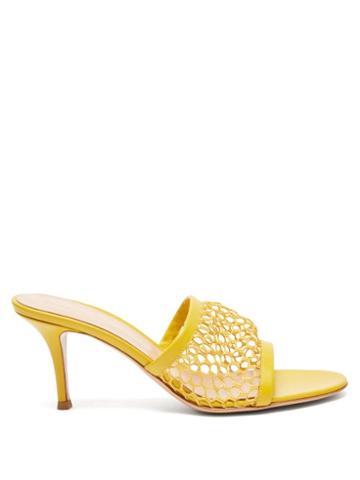 Matchesfashion.com Gianvito Rossi - Jamaica 70 Crochet-mesh Leather Mules - Womens - Yellow