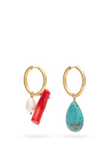 Matchesfashion.com Timeless Pearly - Mismatched Hoop Earrings - Womens - Blue