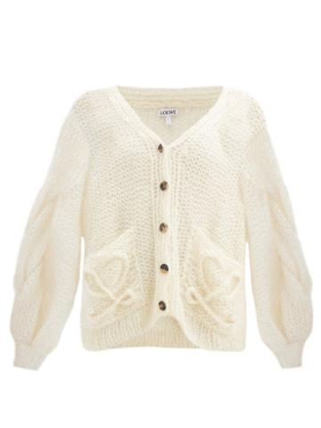 Matchesfashion.com Loewe - Anagram-knitted Mohair-blend Cardigan - Womens - Cream