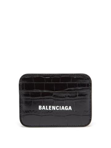 Balenciaga - Cash Logo-print Croc-effect Leather Cardholder - Womens - Black