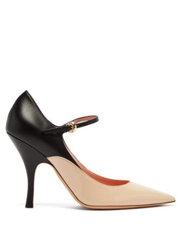 Matchesfashion.com Rochas - Panelled Leather Mary Jane Pumps - Womens - Black Pink