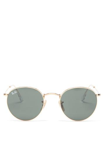 Ray-ban - Round Metal Glasses - Womens - Green Gold