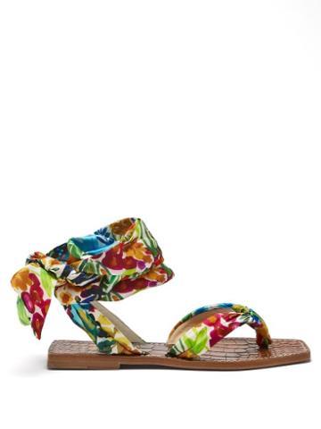 Christian Louboutin - Niloofar Floral-print Satin Wraparound Sandals - Womens - Multi