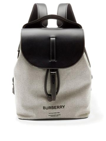 Mens Bags Burberry - Logo-print Leather And Cotton-canvas Backpack - Mens - Black Grey