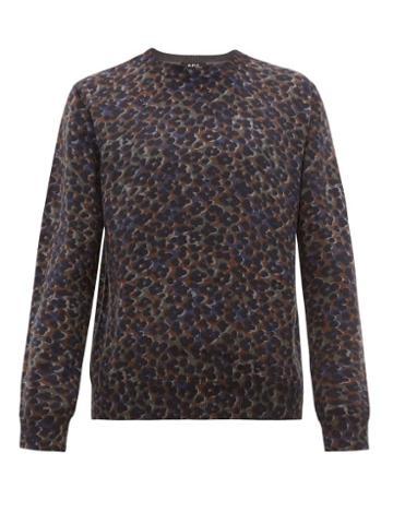 Matchesfashion.com A.p.c. - Fauve Leopard Print Cotton Blend Sweater - Mens - Grey