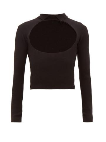 Matchesfashion.com Ludovic De Saint Sernin - Cut Out Ribbed Wool Blend Sweater - Mens - Black