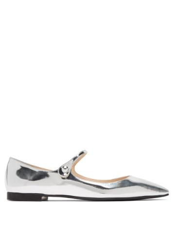 Matchesfashion.com Prada - Metallic Leather Mary Jane Flats - Womens - Silver