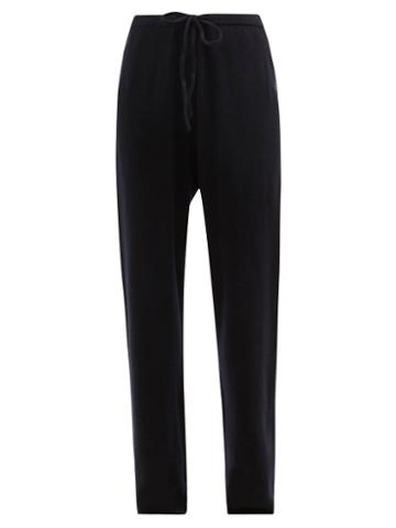 Extreme Cashmere - No.142 Run Stretch-cashmere Wide-leg Track Pants - Womens - Navy