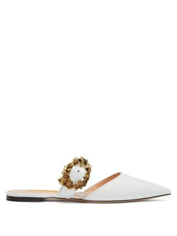 Matchesfashion.com Rupert Sanderson - Crystal Embellished Buckled Leather Mules - Womens - White