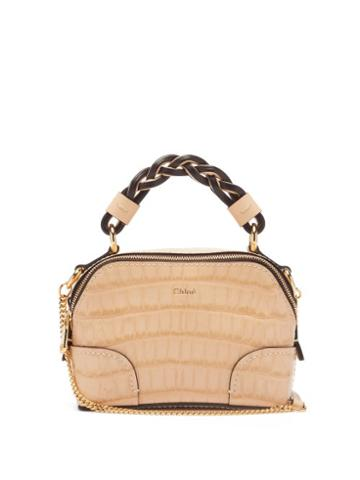 Matchesfashion.com Chlo - Daria Mini Crocodile-effect Leather Top-handle Bag - Womens - Beige