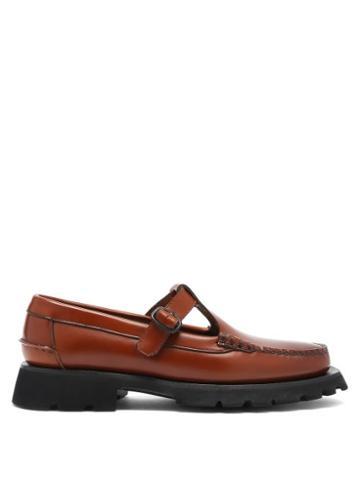 Matchesfashion.com Hereu - Albert Sport T-bar Raised-sole Leather Loafers - Womens - Tan