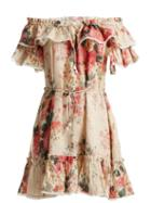 Matchesfashion.com Zimmermann - Laelia Floral Print Linen Dress - Womens - Cream Multi