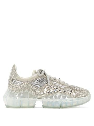 Matchesfashion.com Jimmy Choo - Diamond Crystal-embellished Suede Trainers - Womens - Silver