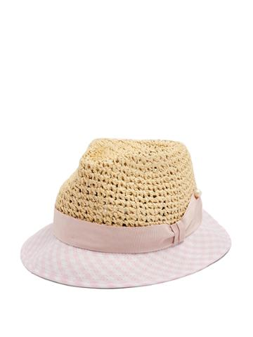 Federica Moretti Dia Gingham Brim Straw Hat