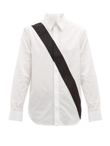 Matchesfashion.com Helmut Lang - Appliqu Band Logo Print Cotton Shirt - Mens - White Black