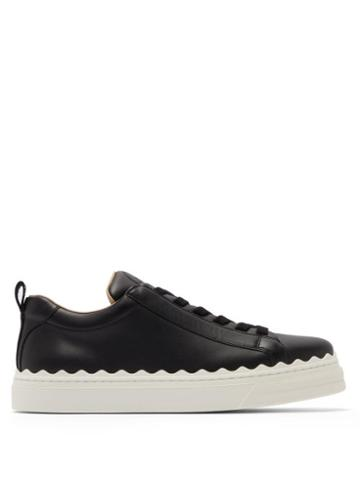 Matchesfashion.com Chlo - Lauren Scallop Edge Leather Trainers - Womens - Black