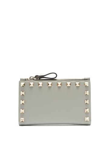 Matchesfashion.com Valentino Garavani - Rockstud Leather Card And Coin Purse - Womens - Grey