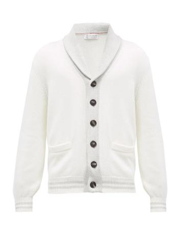 Matchesfashion.com Brunello Cucinelli - Shawl-collar Ribbed-knit Cotton Cardigan - Mens - Cream