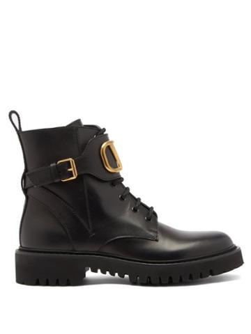 Matchesfashion.com Valentino Garavani - V-logo Lace-up Leather Boots - Womens - Black