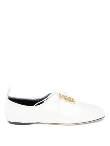 Matchesfashion.com Loewe - Anagram-plaque Leather Flats - Womens - White