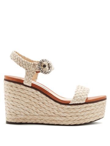 Jimmy Choo Nylah Crystal-embellished Raffia Platform Sandals