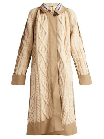 Matchesfashion.com Maison Margiela - Cable Knit Wool Blend Coat - Womens - Cream