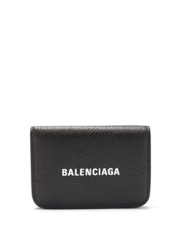 Balenciaga - Cash Logo-print Grained-leather Wallet - Womens - Black