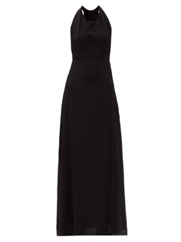 Matchesfashion.com Albus Lumen - Loli Halterneck Linen Maxi Dress - Womens - Black Cream