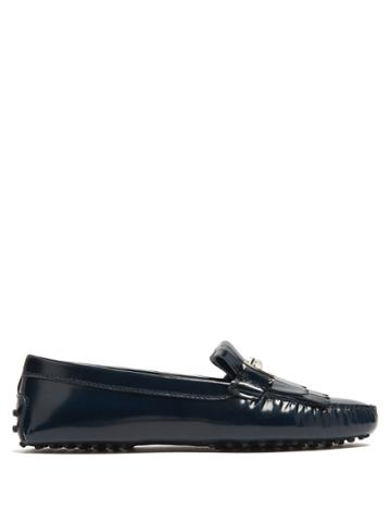 Tod's Gommini T-bar Fringed Leather Loafers