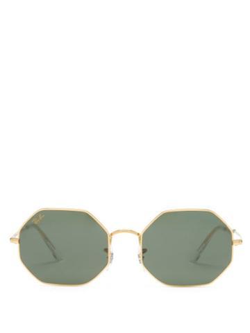 Ray-ban - Octagon 1972 Metal Sunglasses - Womens - Green Gold
