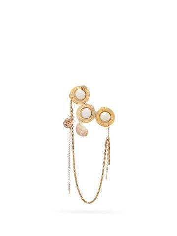 Matchesfashion.com Marine Serre - Faux-pearl & Shell-embellished Single Clip Earring - Womens - Gold Multi