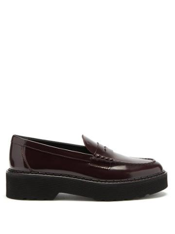 Matchesfashion.com Tod's - Flatform Patent-leather Penny Loafers - Womens - Burgundy
