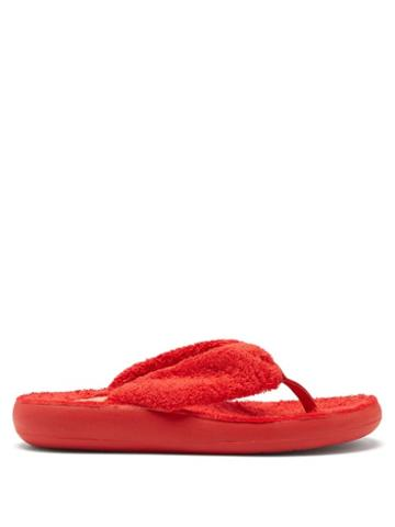 Ladies Shoes Ancient Greek Sandals - Charisma Terry Flip Flops - Womens - Red