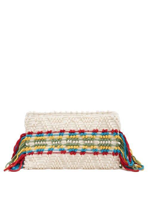 Matchesfashion.com Antonello Tedde - Piattina Cotton Horizontal Stripe Clutch - Womens - Cream Multi