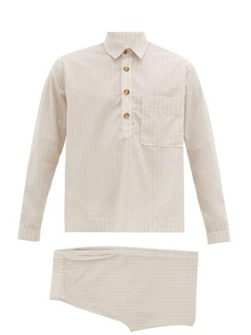Matchesfashion.com King & Tuckfield - Popover Cotton Blend Pyjamas - Mens - Beige Multi