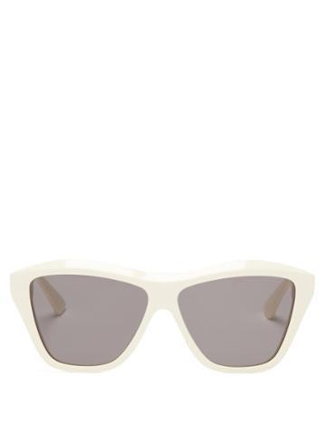 Bottega Veneta - Cat-eye Acetate Sunglasses - Womens - Brown
