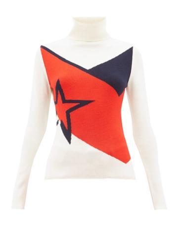 Matchesfashion.com Perfect Moment - Super Day Star Intarsia Merino Wool Sweater - Womens - White