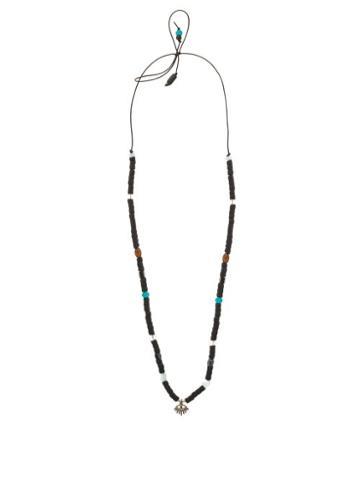 Matchesfashion.com Musa By Bobbie - Diamond, Aquamarine & Silver Charm Necklace - Womens - Black