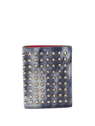 Matchesfashion.com Christian Louboutin - Spiked Denim-effect Leather Wallet - Mens - Silver Multi