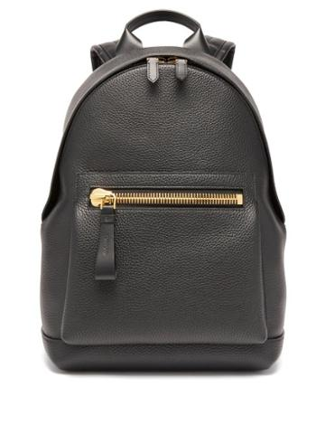Mens Bags Tom Ford - Buckley Grained-leather Backpack - Mens - Black